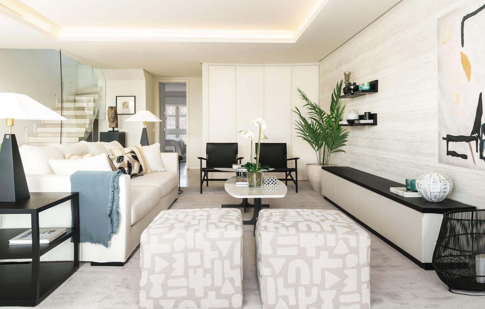 Puente Romano duplex apartment interior design living room