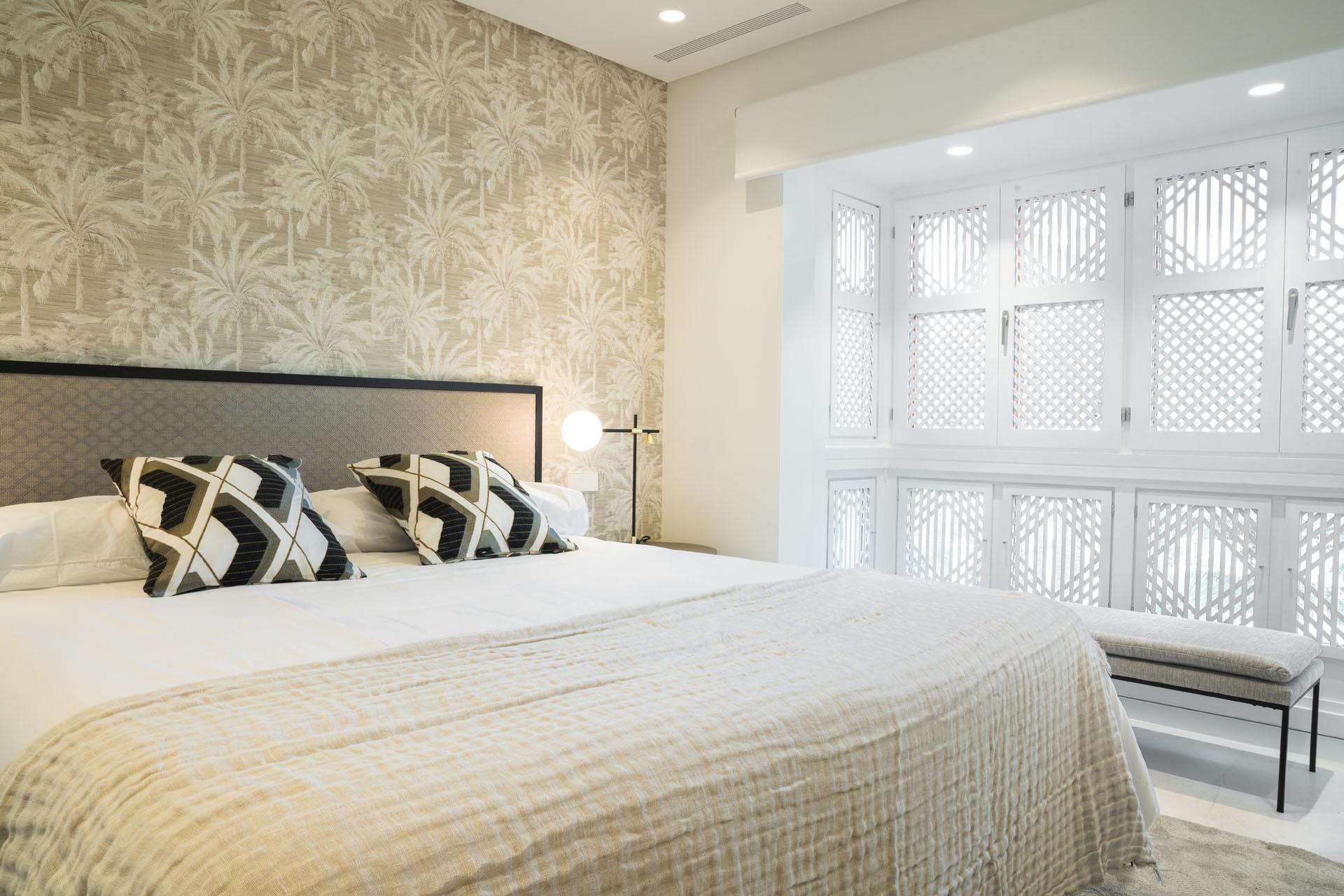 Puente Romano duplex apartment interior design bedroom wallpaper