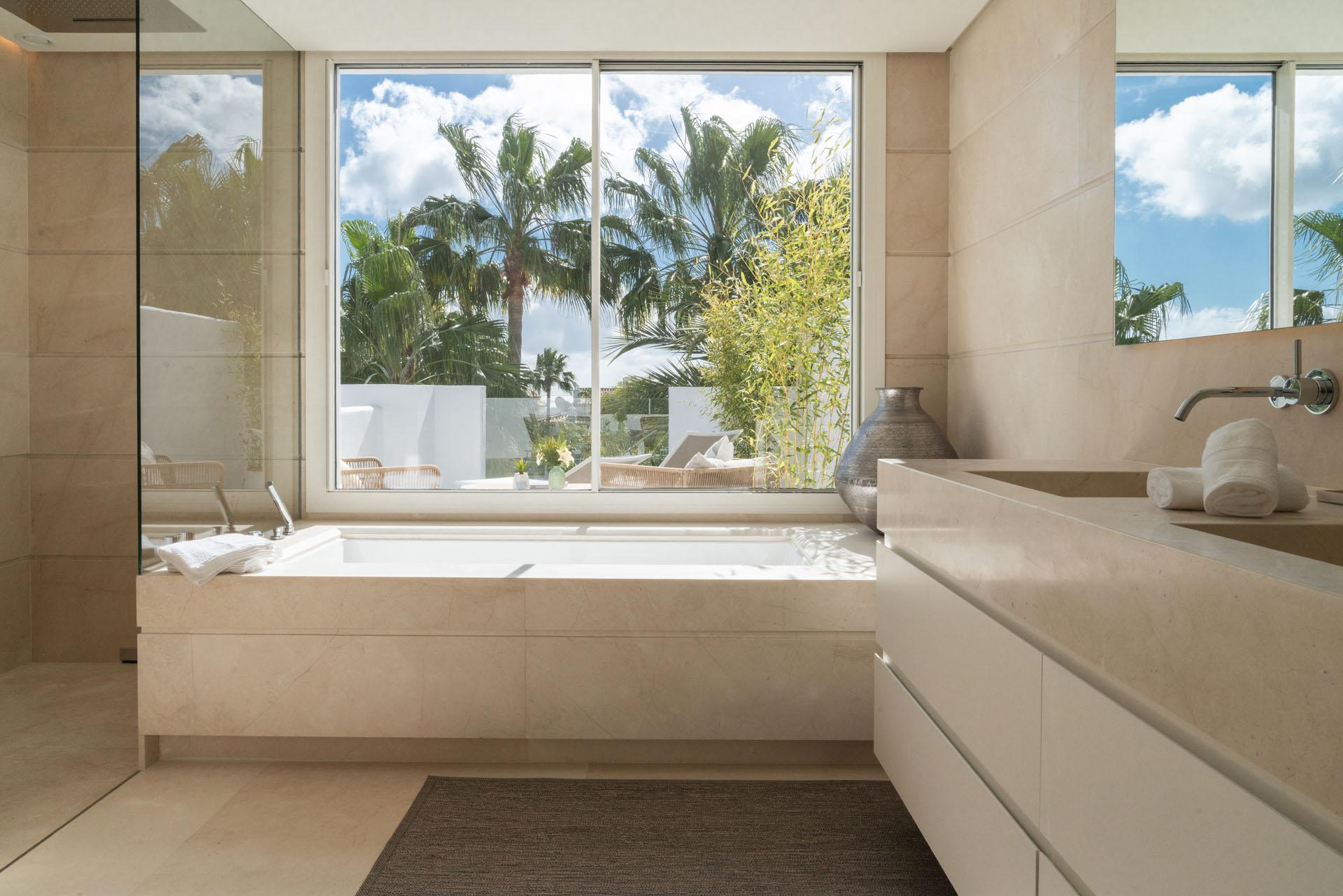 Puente Romano duplex apartment interior design bathroom