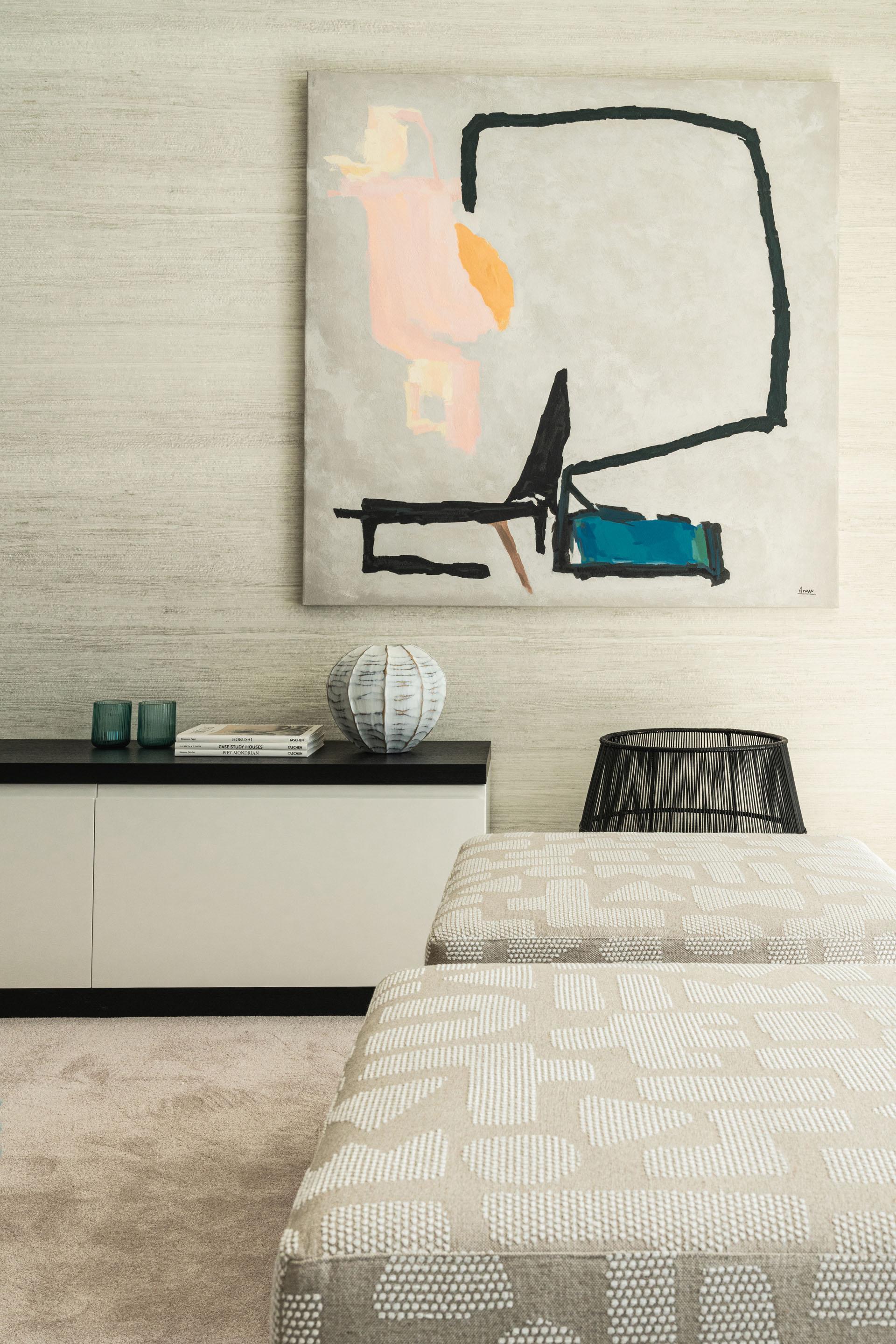 Puente Romano duplex apartment interior design living room details