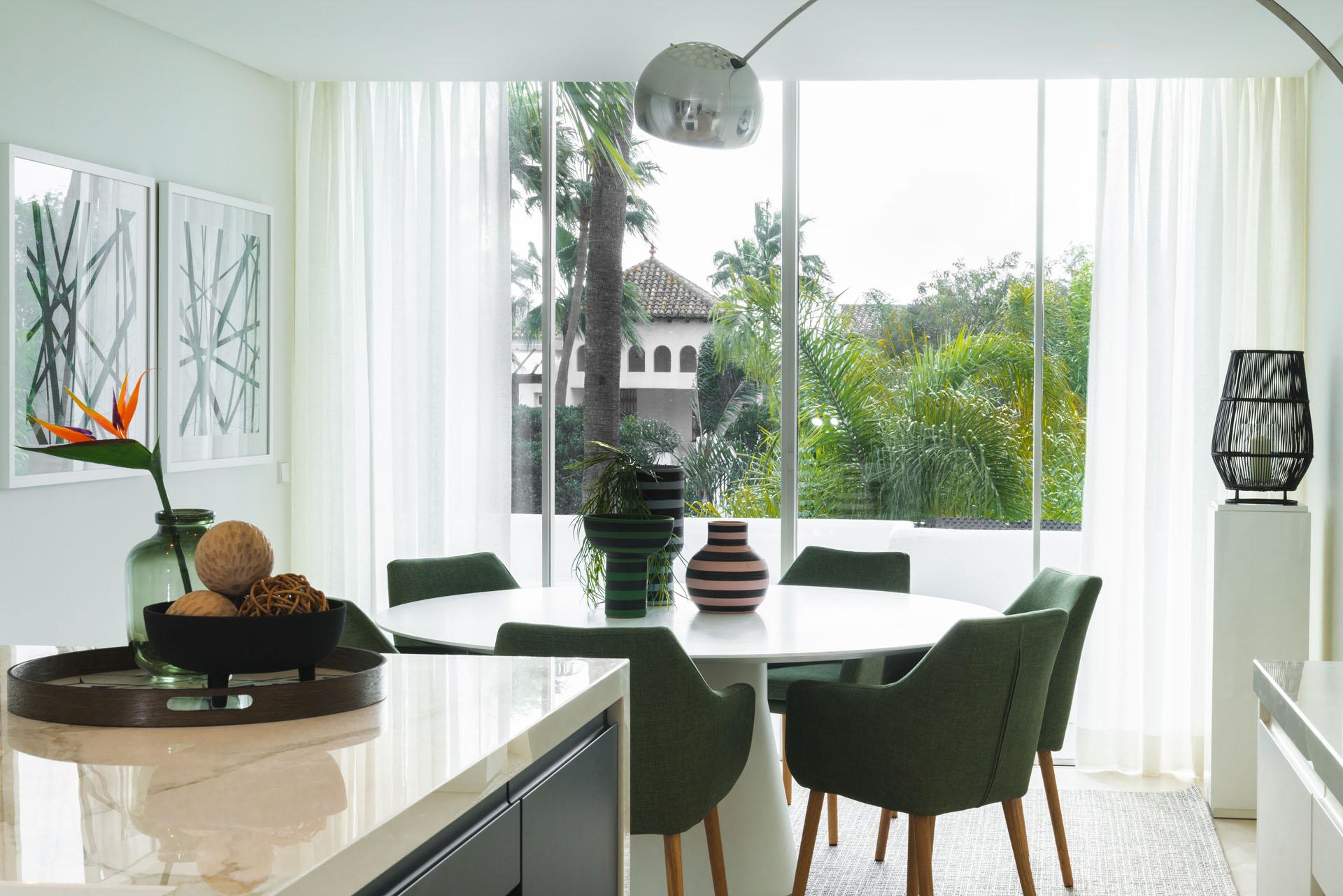 Puente Romano duplex apartment interior design dining room