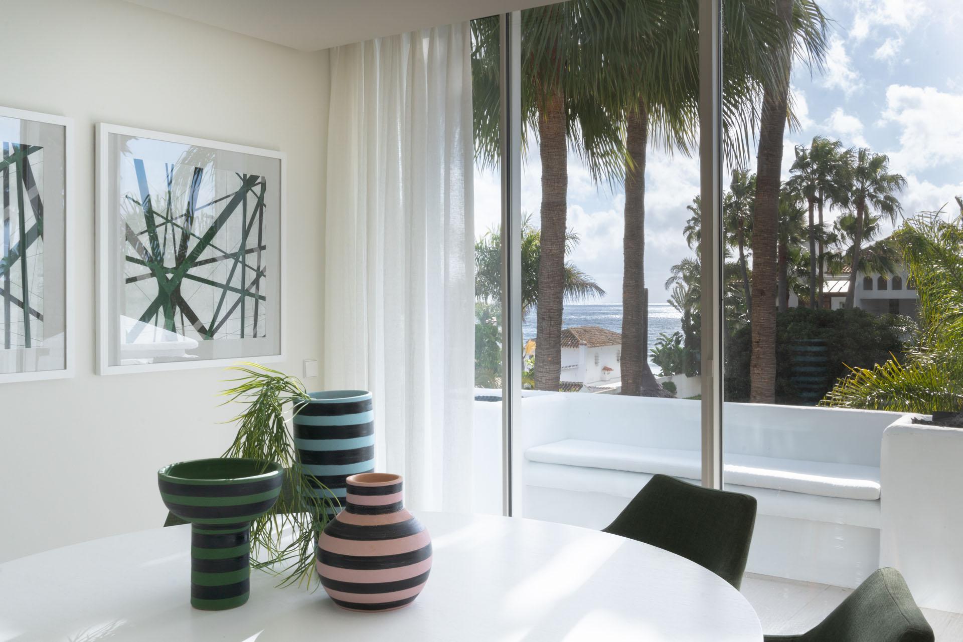 Puente Romano duplex apartment interior design dining room details